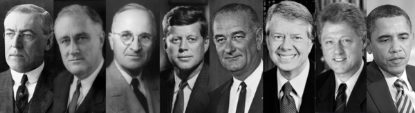 Democrat Presidents from Woodrow Wilson to Barack Obama