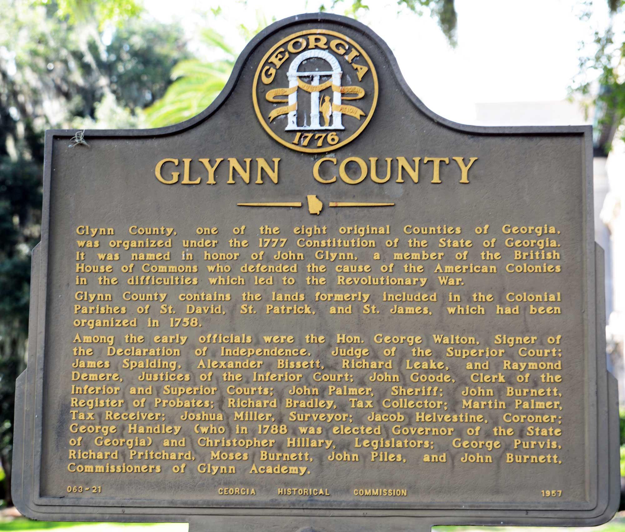 Historical marker in Glynn County Georgia